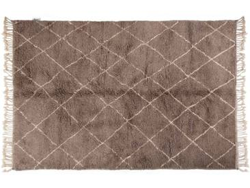 Khadija – grau : 200cm x 300cm marokkanischer Teppich, Berber-Stil, graue handgeknüpfte, Wollteppich, Rautenmuster