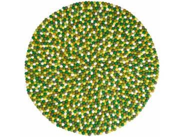 Amita - rund: 20cm Grün, Weiß, Beige Fair Trade Teppich aus Indien Handgefertigt Online Kaufen