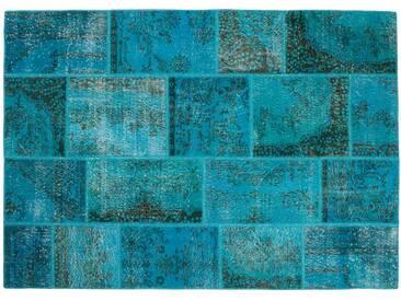 Hatice: 80cm x 100cm Patchwork Overdyed Teppich Türkische Blau Türkis Farben 80cm bis 400cm