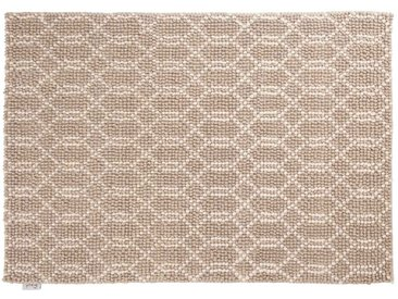 Jai: 100cm x 140cm naturweißer Webteppich, silbergrau, modernes Design, starke handgefertigte Teppiche