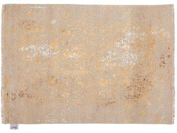 Mukesh - handgeknüpft:  Perser Teppich aus Wolle und Seide, Gelbgold, Fairer Handel