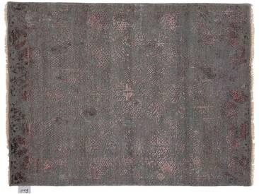 Jithin - handgeknüpft:  Seide Teppich, dunkelgrau, rot Details, Vintage