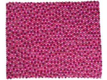 Aayusha - rechteckig: 150cm x 200cm Fair Trade Felt Balls Teppich aus Nepal in Fresh Pink Farben,Online Kauf