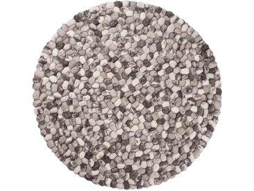 Ayaan - rund : 180cm Filzteppich, Steinteppich, Runder Teppich, Steinoptik, Grau, Pebble, Woll