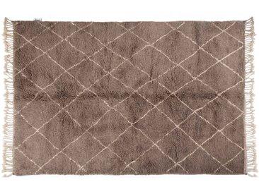 Khadija – grau : 170cm x 240cm marokkanischer Teppich, Berber-Stil, graue handgeknüpfte, Wollteppich, Rautenmuster