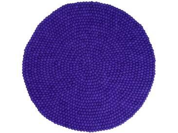 Heena - rund: 140cm Lila Runde Gefilzt Woll-Teppich Nepal Fairer Handel, Online Kauf