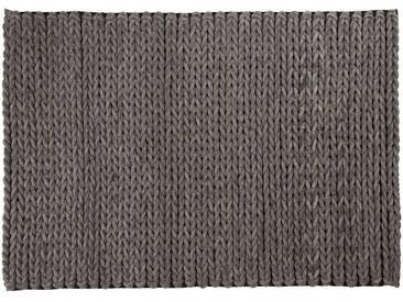 Kamar: 15cm x 20cm Wohnzimmer Teppich, Anthrazit, geflochtenen Filz Teppiche, handgefertigt in Indien, Wolle