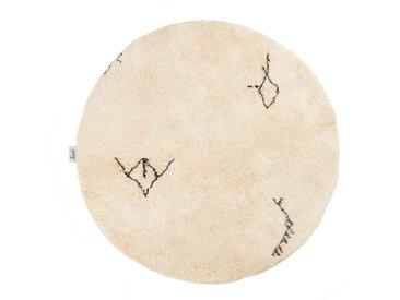 Malika – rund : 150cm marokkanischer Beni Ourain Teppich, runde Teppiche, Tribal Muster und Symbole, Wolle