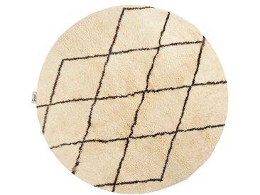 Aicha - rund: 70cm Runde Berberteppiche, weiße Schafwolle, Rautenmuster, neueste Mode, handgeknüpft, Schlafzimmer