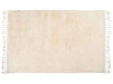 Amina: 150cm x 200cm weißer Wollteppich, Beni Ourain, große hochflorige Teppiche, online
