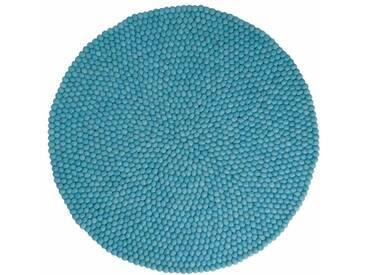 Menkhu - rund: 140cm Gefilzt Woll-Kugeln Teppich Türkis Handgefertigt von Frauen Fair Trade
