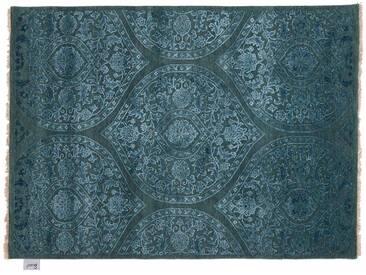 Aadesh - handgeknüpft:  Moderner indischer Teppich, Hand geknotet, Turkis Blau