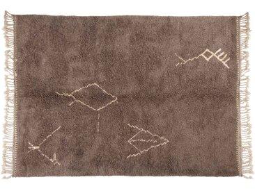 Malika – grau : 300cm x 400cm marokkanische Berber Teppiche, Stammes-Symbole, handgefertigt in Marokko, hochflorige Wolle, Beni Ouarain