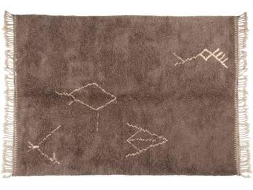 Malika – grau : 100cm x 140cm marokkanische Berber Teppiche, Stammes-Symbole, handgefertigt in Marokko, hochflorige Wolle, Beni Ouarain
