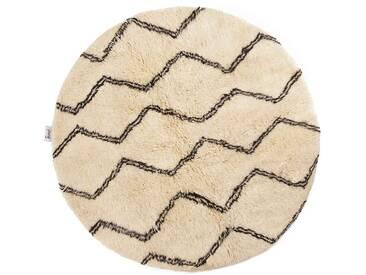 Naima - rund: 150cm Berber Teppich rund, marokkanisch, weiße Wollteppiche, Linienmuster