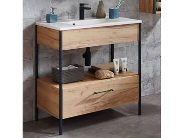 Badezimmer Waschtisch mit Unterschrank im Industrial-Style KILECE-01 in Navarra-Eiche-Nb. BxHxT ca. 81x86x47cm