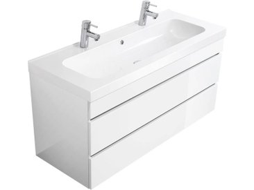 Badezimmer Doppelwaschtisch KODIAK-02 in Hochglanz weiß B x H x T ca. 120 x 60,4 x 46 cm