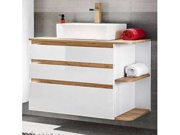 Badezimmer Waschtisch mit Keramik-Waschbecken CAMPOS-56, Hochglanz weiß mit Wotaneiche, B x H x T ca. 94 x 63,5 x 50 cm