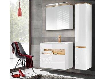 Badezimmer Set mit Keramik-Waschtisch inkl LED in Weiß-Hochglanz mit Wotaneiche BERMUDA-56 B/H/T: 135/200/45cm