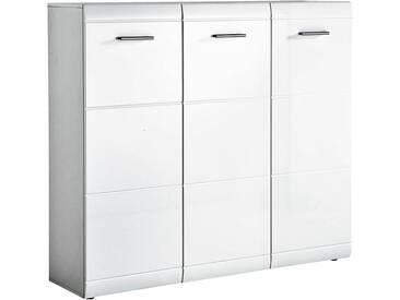 Schuhschrank 3trg in Hochglanz weiß DANARO-01, BxHxT 134x120x37cm