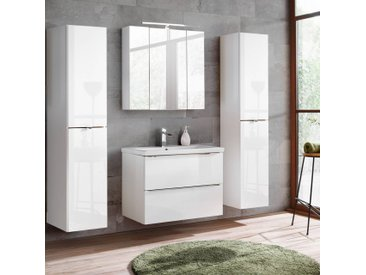 Badezimmermöbel Set mit 2x Hochschrank, 80cm Waschtisch TOSKANA-56 Hochglanz weiß, Wotaneiche BxHxT ca. 190/190/46cm