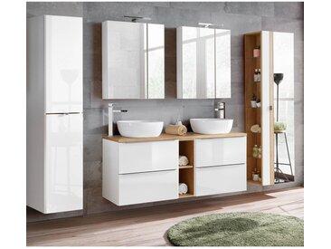 Badmöbel Set mit Doppel-Waschtisch inkl. 2 Keramik-Aufsatzbecken TOSKANA-56 Hochglanz weiß/Wotaneiche BxHxT ca. 260/190/48cm