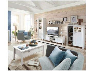 Landhaus Wohnwand Set mit Couchtisch STORD-36 in supermatt weiß mit LED-Beleuchtung