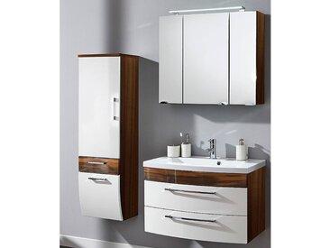 Badmöbel Waschplattz Set mit 80cm Waschtisch RIMAO-02 Hochglanz weiß, Walnuss Nachbildung B x H x T: ca. 142 x 190 x 48,5 cm