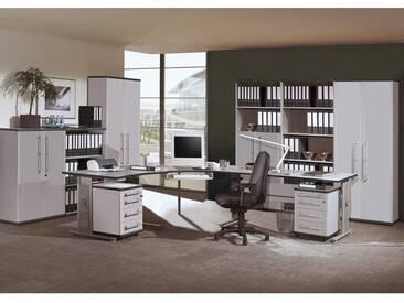 Büromöbel Set PRIFO-01 lichtgrau, 11-teilig mit 2 Rollcontainern
