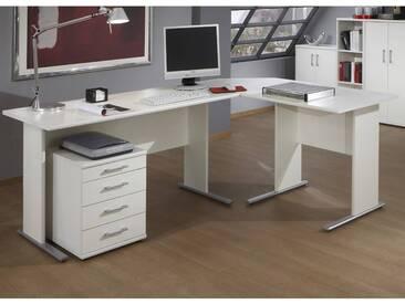 Schreibtisch Set STETTIN-16 weiß, Eckschreibtisch mit Container, B x H x T: ca. 205 x 75 x 155 cm
