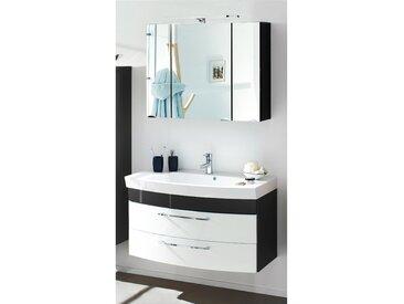 Badmöbel Waschplatz Set RIMAO-100 Hochglanz weiß, anthrazit, 100cm Waschtisch (2-teilig)
