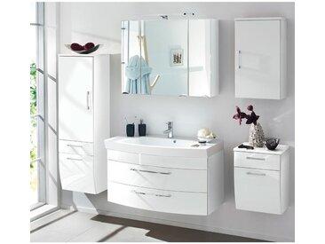 Badmöbel Komplett Set RIMAO-100 Hochglanz weiß, 100cm Waschtisch, B x H x T: ca. 220 x 200 x 57 cm