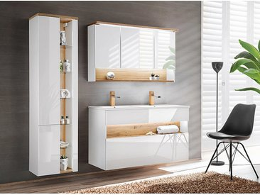 Badezimmer Set mit Doppel-Waschtisch inkl LED BERMUDA-56 in Weiß-Hochglanz mit Wotaneiche B/H/T: 185/200/45cm