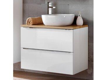 Badezimmer Waschtisch Set mit Keramik-Aufsatzwaschbecken TOSKANA-56 Hochglanz weiß & Wotaneiche BxHxT ca. 80/94/48cm