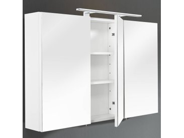 Spiegelschrank mit LED-Beleuchtung, Korpus MDF weiß, B x H x T 110 x 68 x 16 cm