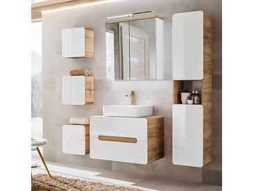 Badezimmer Komplett-Set Hochglanz weiß, Wotaneiche LUTON-56 Keramik-Waschtisch, LED-Spiegelschrank BxHxT ca. 180x200x46cm
