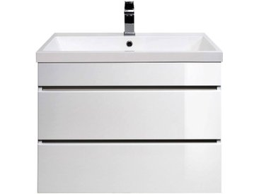 Waschtisch mit Unterschrank KASSANDRA-02 Hochglanz weiß B x T x H ca. 70 x 58,5 x 48 cm