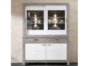 Esszimmer Buffetschrank GRONAU-55 inkl. LED in weiß matt und Haveleiche Nb. BxHxT: 157x211x43cm