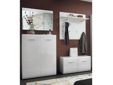 Garderoben Set DANARO-01 Hochglanz weiß (4-teilig), B x H x T ca. 209 x 200 x 37cm