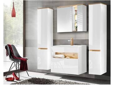 Badmöbel Set mit Keramik-Waschtisch inkl LED BERMUDA-56 in Weiß-Hochglanz mit Wotaneiche B/H/T: 190/200/45cm