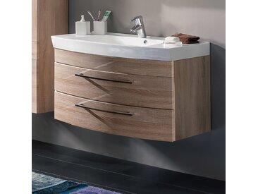 Badmöbel Waschtisch mit Unterschrank 100cm RIMAO-100 Sonoma Eiche Nb. 2 Softclose-Schubkästen B x H x T: ca. 100 x 57 x 50 cm