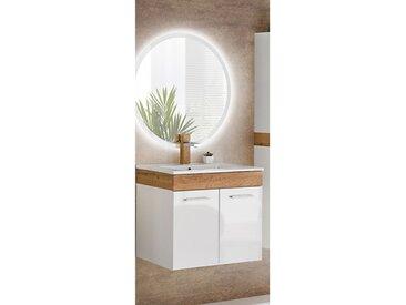 Waschplatz Set mit Keramikwaschtisch LED Spiegel und Hochschrank TUMBA-56 Hochglanz weiß, Wotaneiche BxHxT ca.: 60 x 200 x39 cm