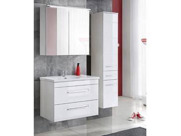 Badmöbel Set mit Keramik-Waschtisch 60 - 80 cm 3tlg VISBY-56, Hochglanz weiß, B x H x T ca.: 110 / 130 x 200 x 46 cm