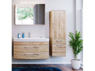 Badezimmermöbel Set mit 100cm Waschtisch RIMAO-100 in Eiche Sonoma B x H x T: ca. 160 x 200 x 57 cm