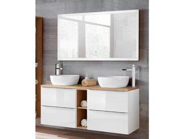 Badezimmer Waschtisch & LED-Spiegel Set TOSKANA-56 in Hochglanz weiß., mit 2 Keramik-Aufsatzbecken, BxHxT ca. 140/190/48cm