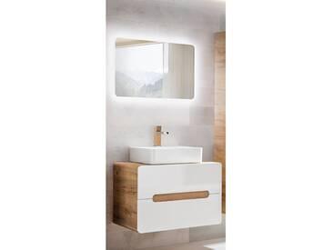 Badezimmer Waschplatz Set mit Keramik-Waschtisch LUTON-56 Hochglanz weiß mit Wotaneiche BxHxT ca. 80x190x46cm