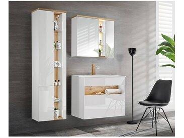 Badezimmer Set mit Keramik-Waschtisch inkl LED BERMUDA-56 in Weiß-Hochglanz mit Wotaneiche B/H/T: 145/200/45cm