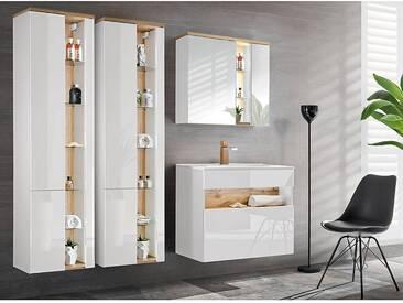 Badmöbel Set mit Keramik-Waschtisch inkl LED BERMUDA-56 in Weiß-Hochglanz mit Wotaneiche B/H/T: 200/200/45cm