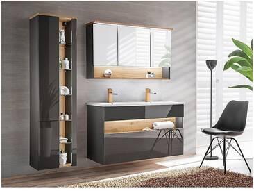 Badezimmer Set mit Doppel-Waschtisch inkl LED BERMUDA-56 in Anthrazit-Hochglanz mit Wotaneiche B/H/T: 185/200/45cm