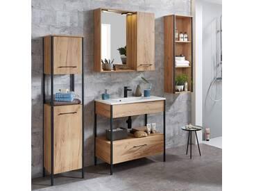 Badezimmermöbel Set, Industrial Design, inkl. 80cm Waschtisch KILECE-01 Metallgestell mit Eiche Navarra, B x H x T ca.: 183 x 200 x 47 cm